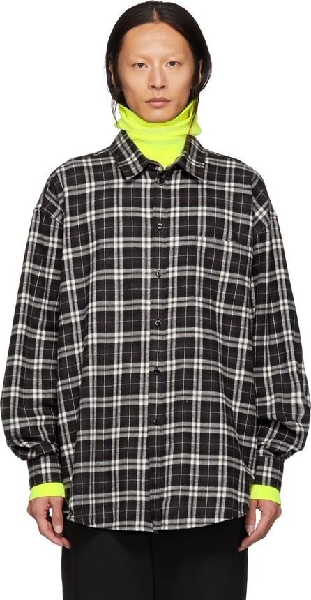 Balenciaga Black & White Oversized Check Flannel Shirt