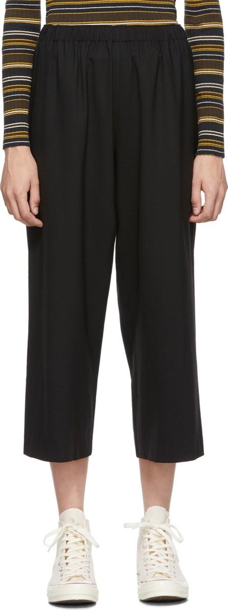 6397 Black Wool Classic Wide-Leg Trousers