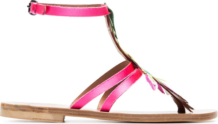 Álvaro Multicoloured Ariana feather satin sandals