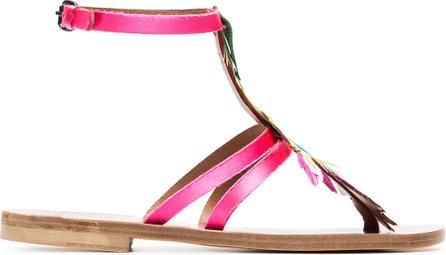 Álvaro Multicoloured Ariana feather satin sandals