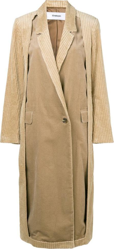 Chalayan Cut-away corduroy coat