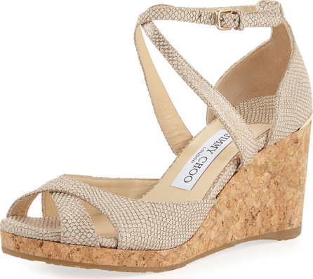 Jimmy Choo Printed Metallic Leather Wedge Sandals