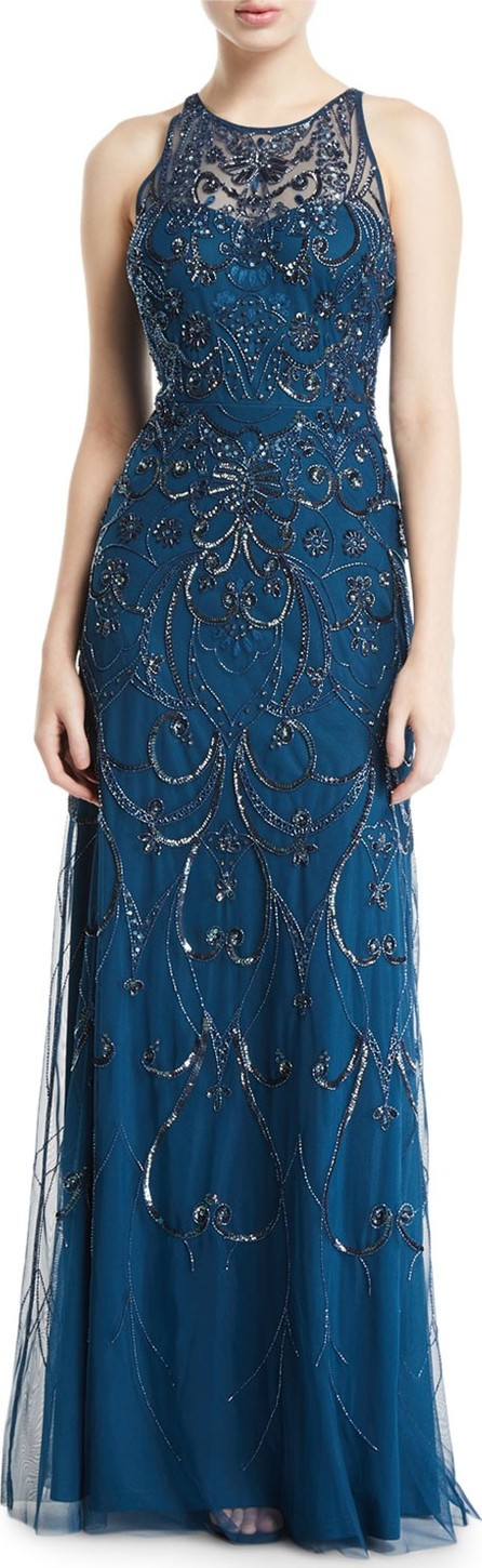 Aidan Mattox Embroidered Halter Gown with Beading