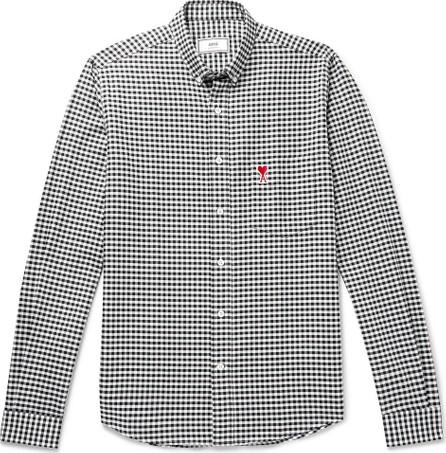 AMI Button-Down Collar Logo-Appliquéd Gingham Cotton Oxford Shirt