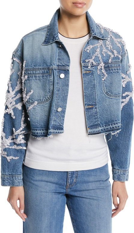 Oscar De La Renta Button-Down Cropped Beaded Coral Denim Jacket