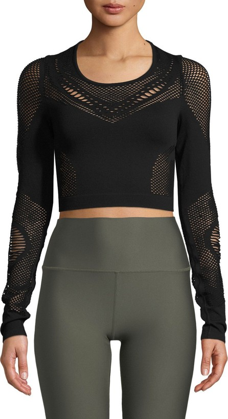 Alo Yoga Siren Long-Sleeve Mesh Performance Crop Top