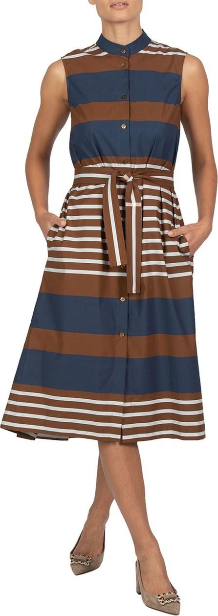 Eleventy Pleated-Back Striped Poplin Dress