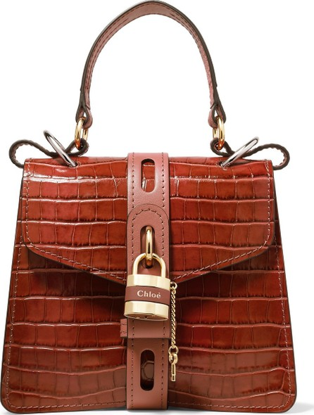 Chloe Aby small croc-effect leather tote