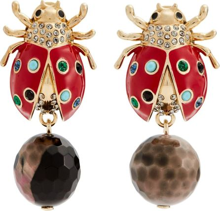 Etro Crystal-embellished brass ladybird drop earrings
