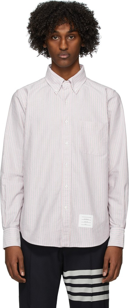 Thom Browne Red & White Oxford University Stripe Straight Fit Shirt