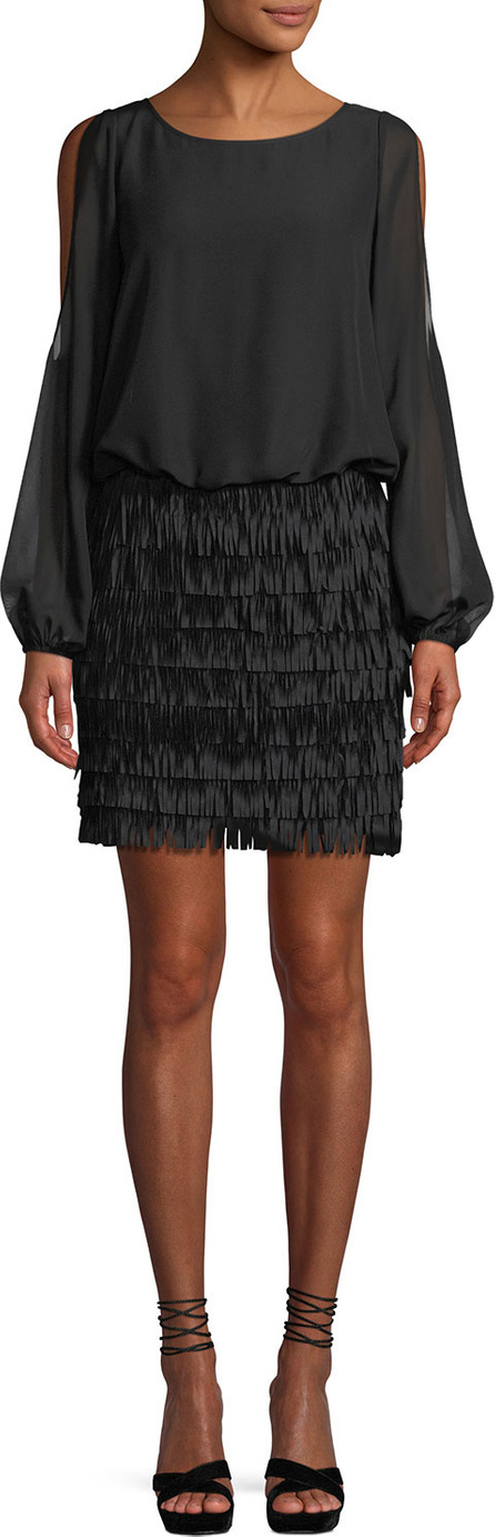 Aidan by Aidan Mattox Slit-Sleeve Mini Dress w/ Fringe Skirt