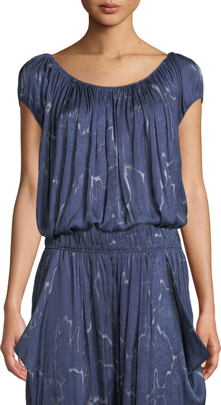 HALSTON HERITAGE Ruched-Neck Short-Sleeve Top