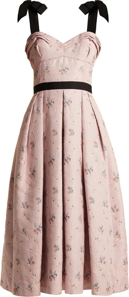 Carolina Herrera Floral-jacquard pleated midi dress