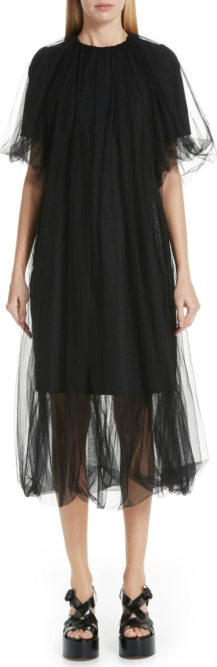 Noir Kei Ninomiya Tulle Overlay Wool Shift Dress
