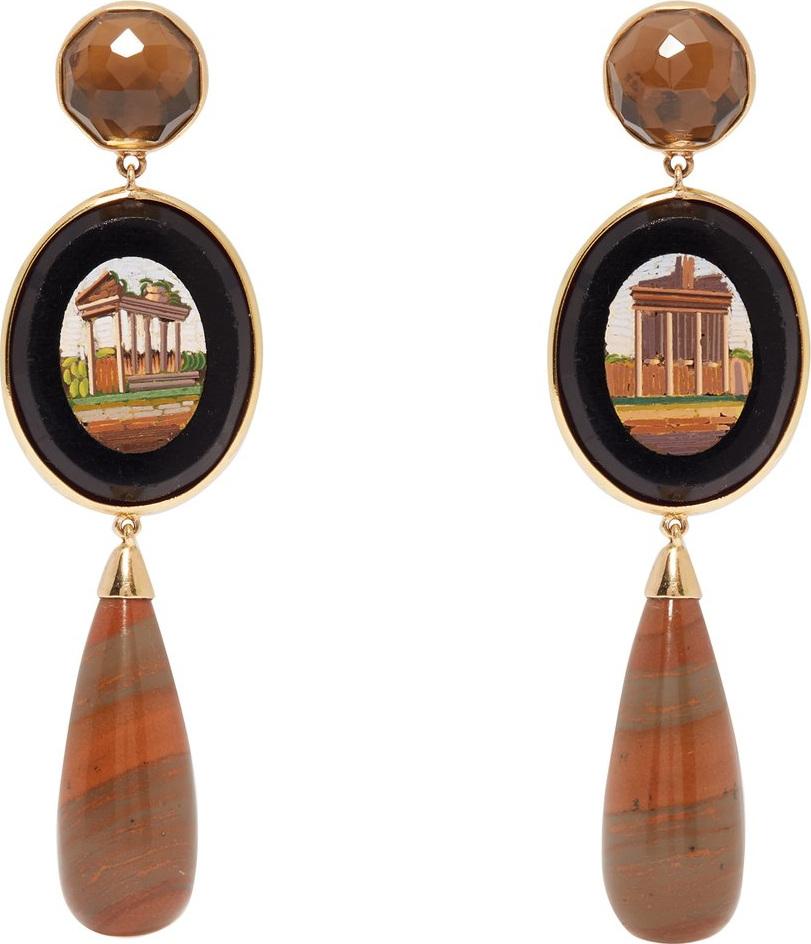 Brigid Blanco - Mosaic quartz & 18kt gold earrings