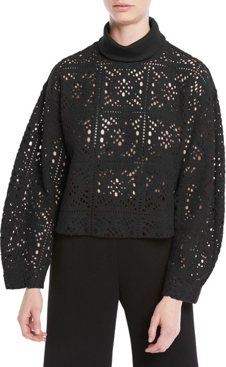 See By Chloé Turtleneck Long-Sleeve Cutout Sweater