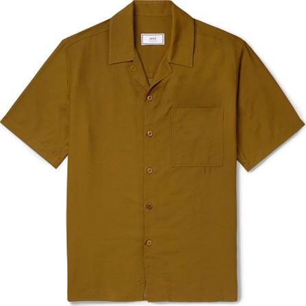 AMI Camp-Collar Satin-Twill Shirt