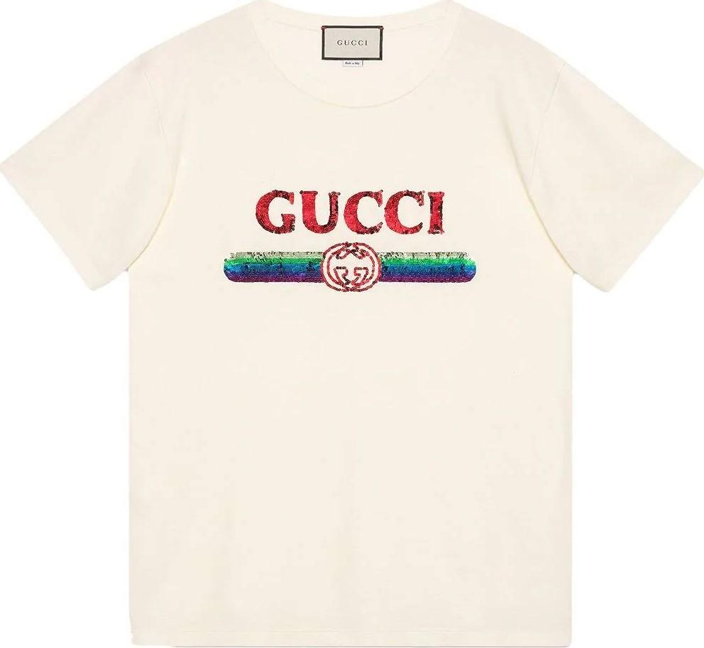 b8204de3ec0 Gucci Oversize T-shirt with sequin Gucci logo - Mkt
