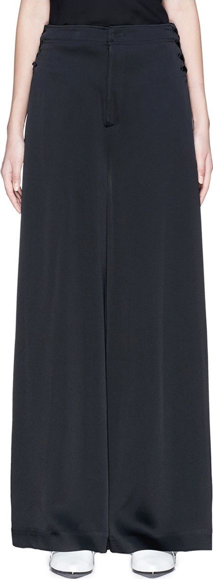 ADEAM Lace-up sateen wide leg pants