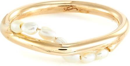 Sarah & Sebastian Akoya keshi pearl 10k gold wave ring