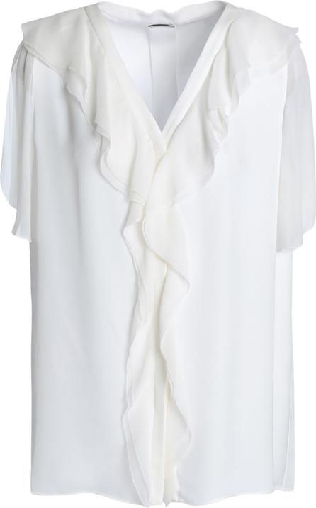 Elie Tahari Ruffled silk-georgette and crepe top