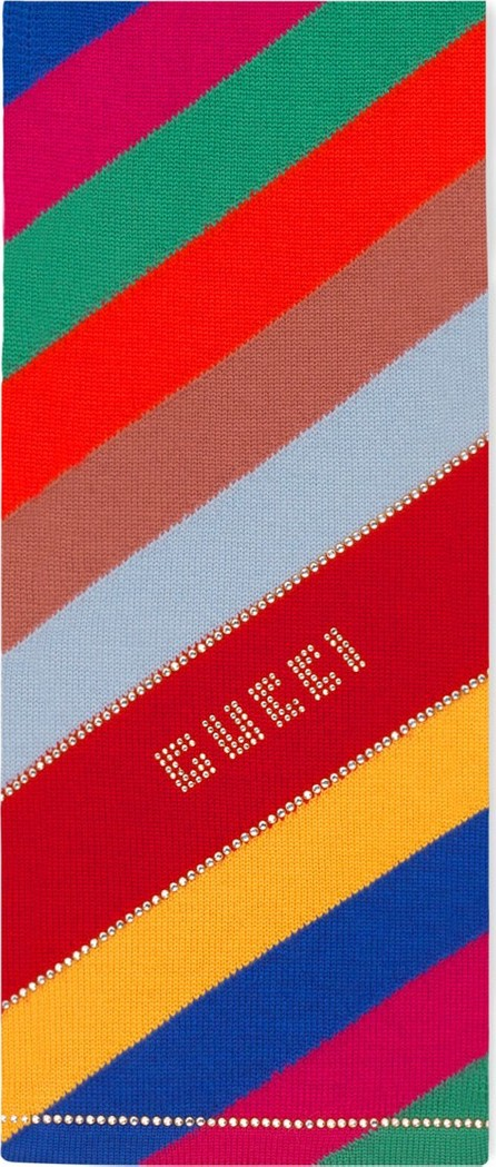 Gucci Crystal Studded Multicolored Striped Wool Scarf