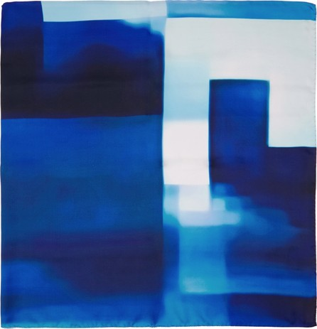 A_Plan_Application Blue Peter Saville Edition Silk 'Blue Blue Glitch' Scarf