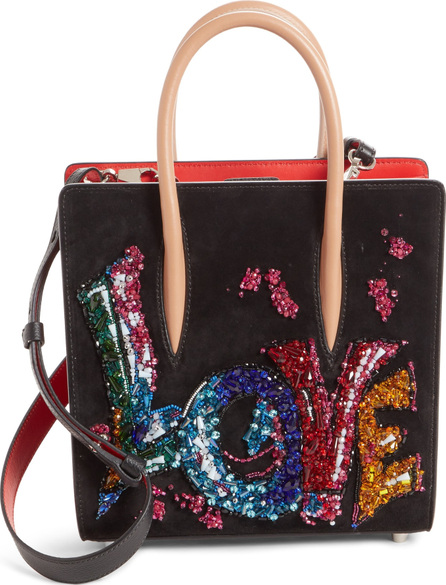Christian Louboutin Small Paloma Love Beaded Leather Tote