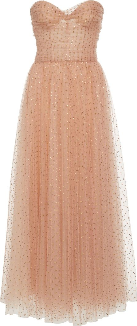Monique Lhuillier Strapless Tulle Sweetheart Gown