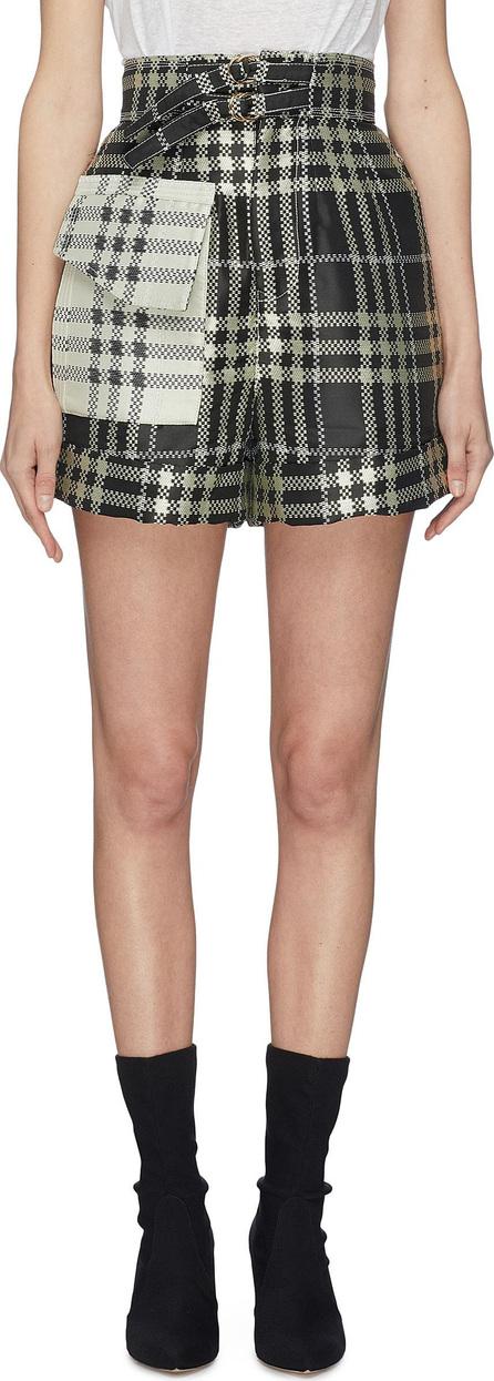 Self Portrait Buckled contrast pocket check plaid jacquard shorts