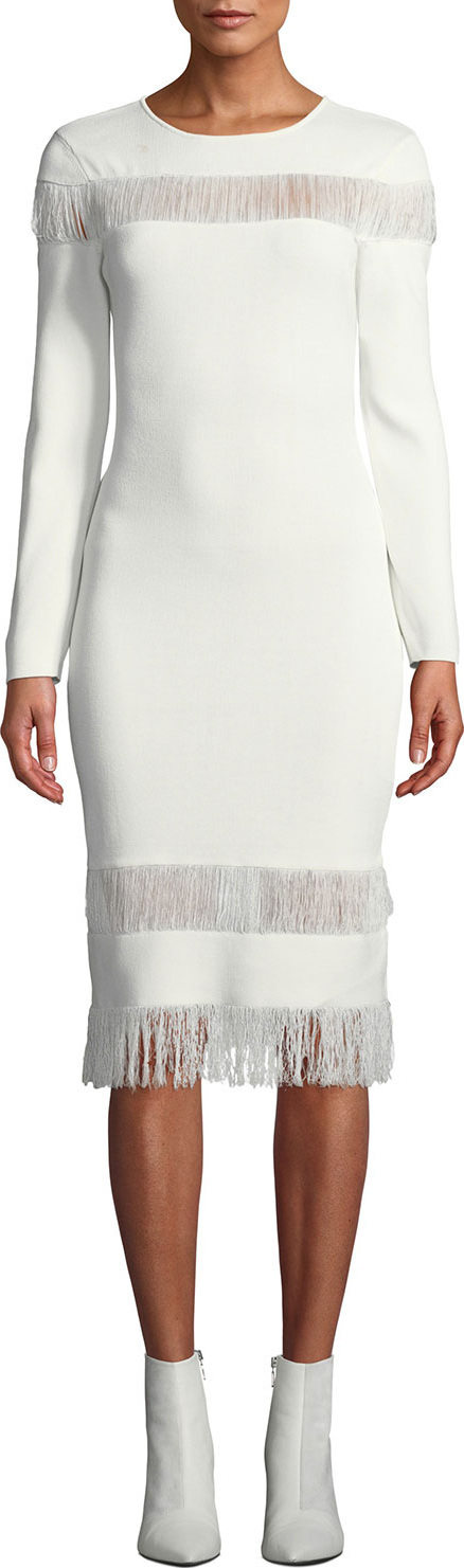 Sachin & Babi Seraphina Long-Sleeve Fringe Dress