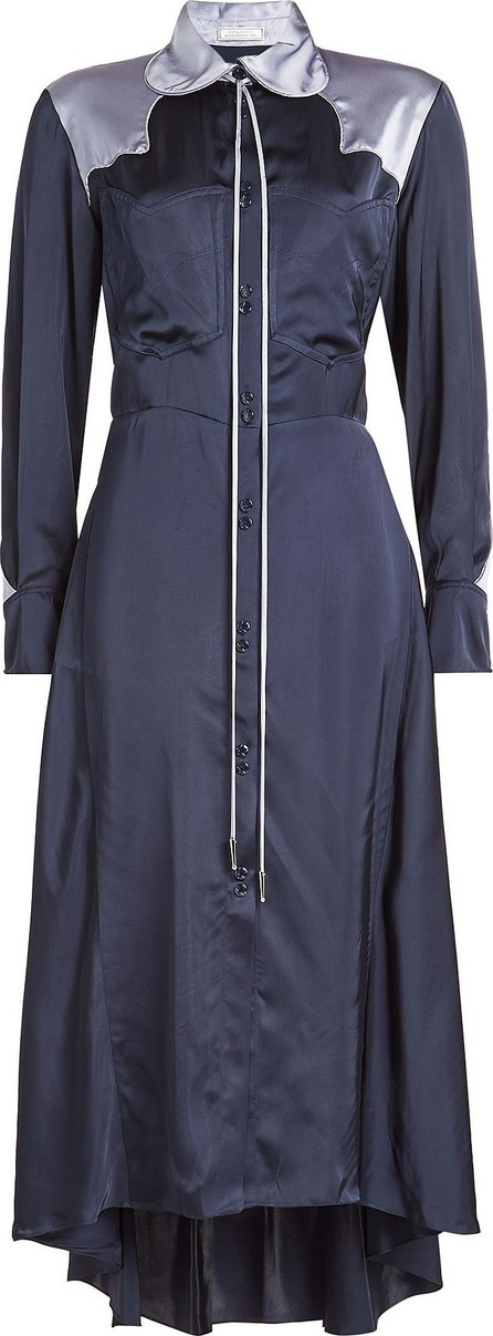 Nina Ricci Satin Dress with Asymmetric Hem
