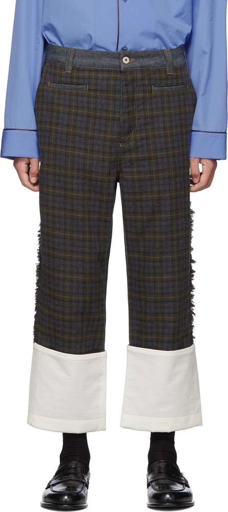 LOEWE Grey & Brown Check Patch Fisherman Jeans