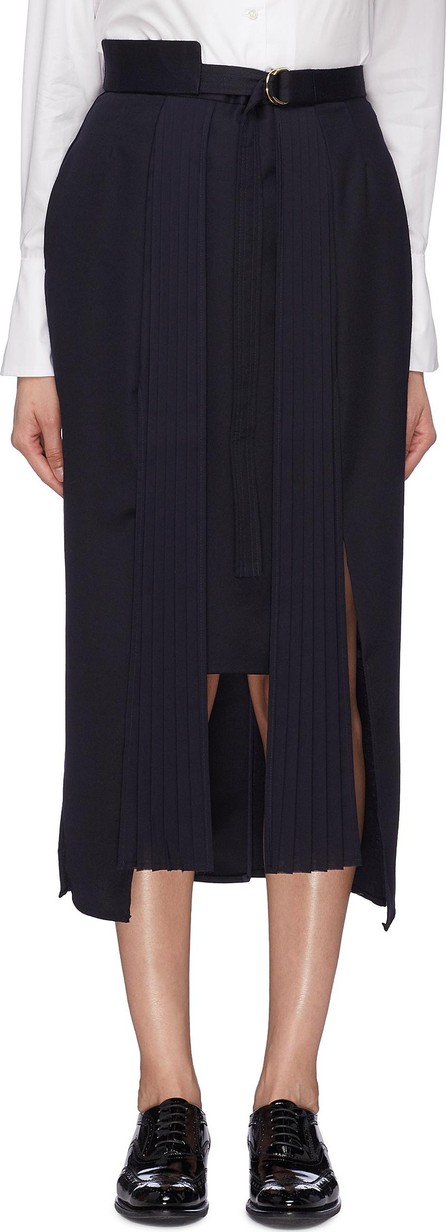 Akiko Aoki Pleated panel belted asymmetric skirt