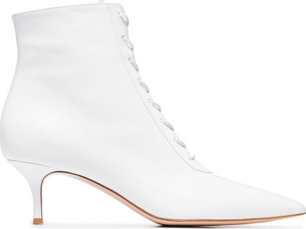 Gianvito Rossi White 55 lace up leather ankle boots