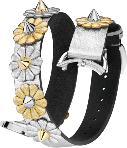Fendi 17mm Catalan Metallic Flower-Studded Leather Watch Strap