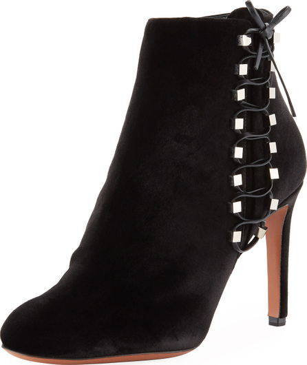 Alaïa Velvet Side-Lace Ankle Booties