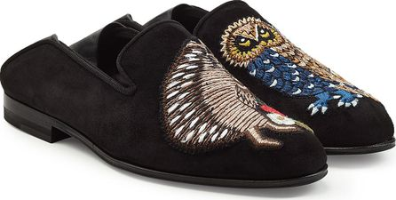 Alexander McQueen Embroidered Suede Loafers