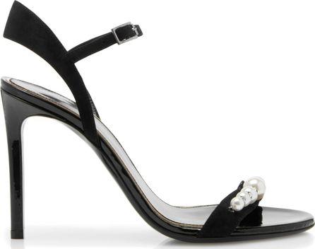Lanvin Pearl-Embellished Suede Sandals