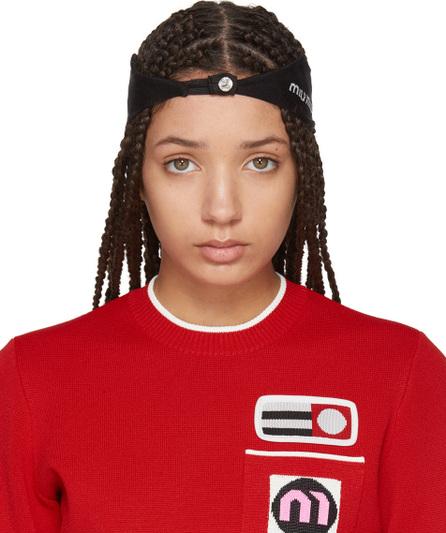 Miu Miu Black Crystal Logo Headband