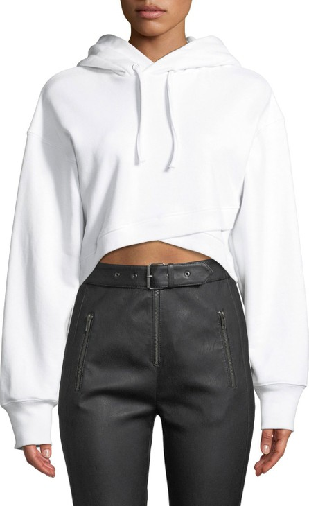 A.L.C. Jenna Hooded Cropped Cross-Front Sweatshirt