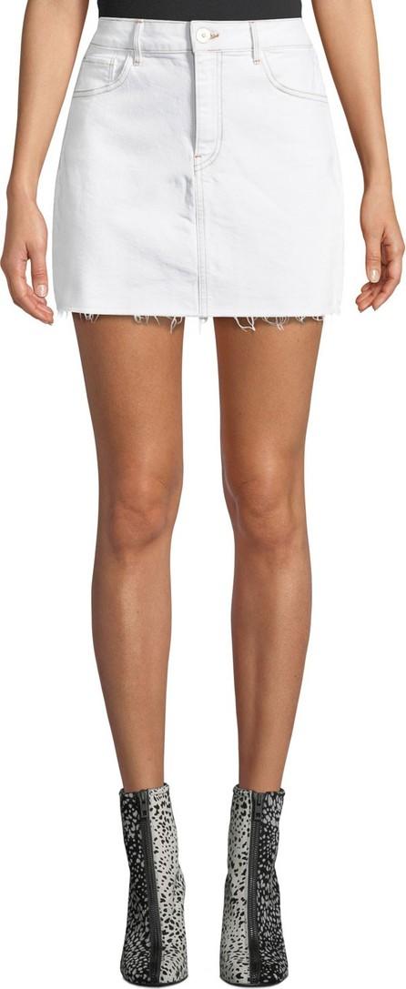 3X1 Celine High-Waist Frayed Denim Short Skirt