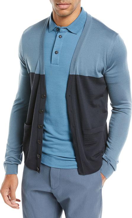 Giorgio Armani Colorblock Button-Front Wool Cardigan