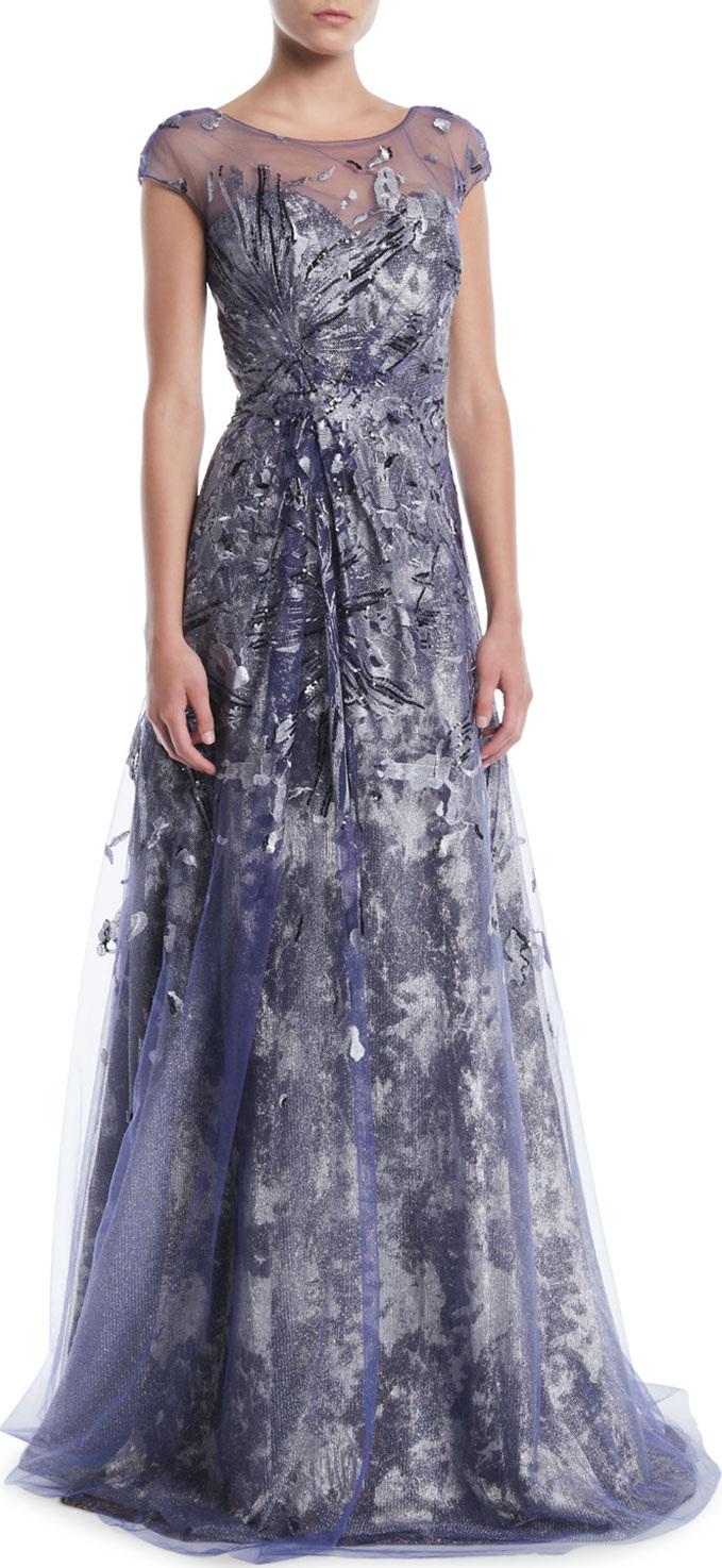 RENE RUIZ Brocade Cap-Sleeve Illusion Gown in Blue - mkt