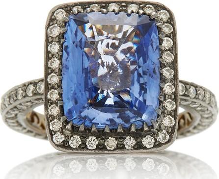 Amrapali 18K Oxidized Gold, Sapphire and Diamond Ring