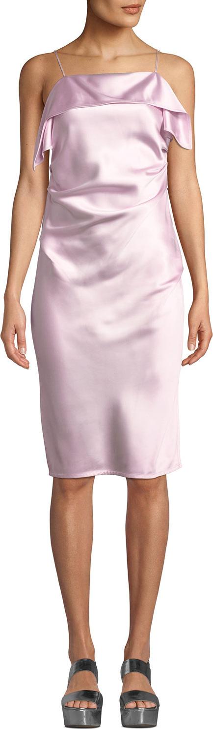 Helmut Lang Draped Sleeveless Satin Cocktail Dress