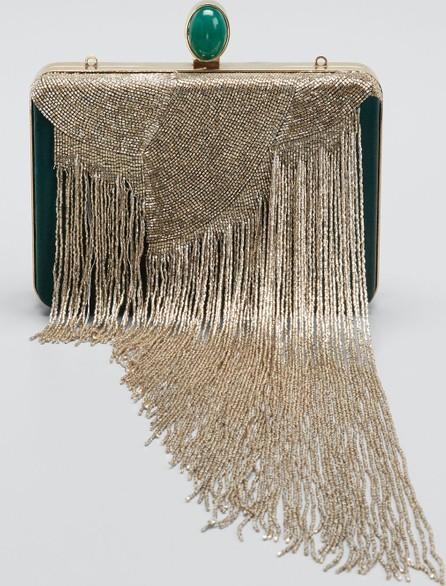Oscar De La Renta Satin Box Clutch Bag with Bead Embroidery