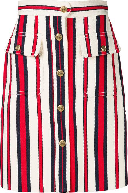 Gucci A-line striped denim skirt