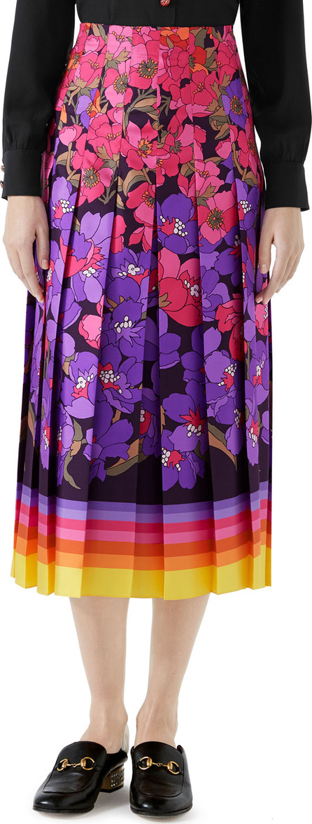 Gucci Floral Degrade Silk Twill Pleated Midi Skirt