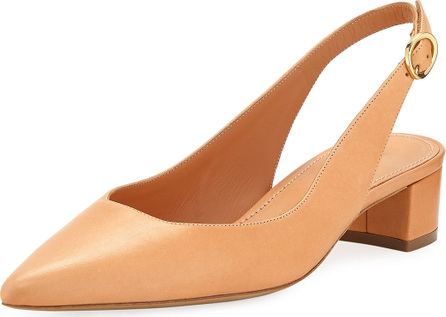 Mansur Gavriel Low-Heel Napa Leather Slingback Pump